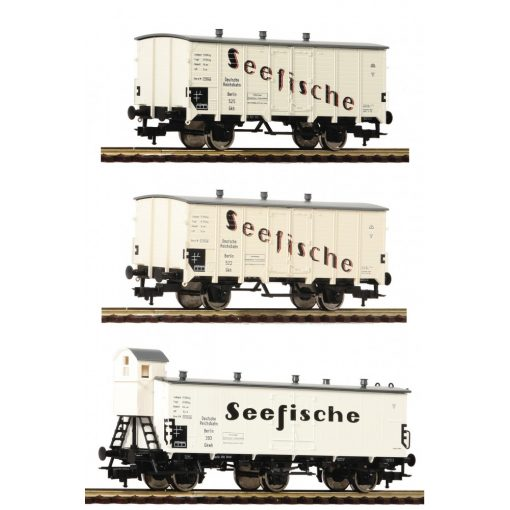 Fleischmann 538101 Hűtőkocsi-készlet, 3-részes Seefische, DRG (E2) (H0)