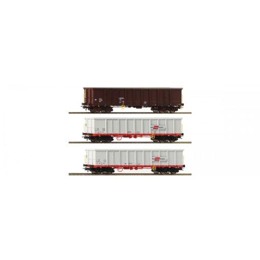 Roco 67153 Nyitott négytengelyes teherkocsi-készlet, 3-részes, Eanos, ÖBB (E6)