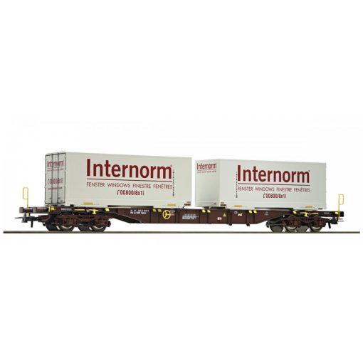 Roco 67312 Konténerszállító négytengelyes teherkocsi, Sgns, 2 db csereszekrénnyel - Inter