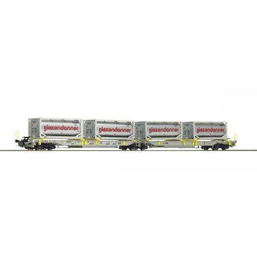 Roco 67403 Konténerszállító iker-zsebeskocsi, Sdggmrs25 - T2000, AAE (E6), Giezendanner tar