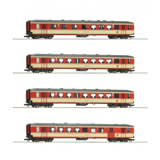 Roco 74130 Személykocsi-készlet, 4-részes négytengelyes Schlierenwagen, ÖBB (E4) (H0)