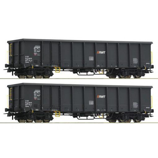 Roco 76099 Nyitott négytengelyes teherkocsi-pár, Eanos, AWT (E6)