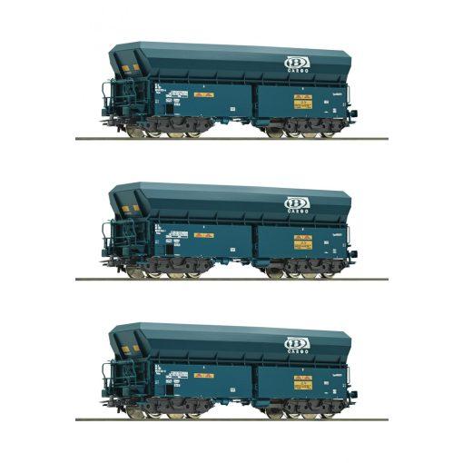 Roco 76132 Önürítős négytengelyes teherkocsi készlet, 3-részes Falns, SNCB (E6)