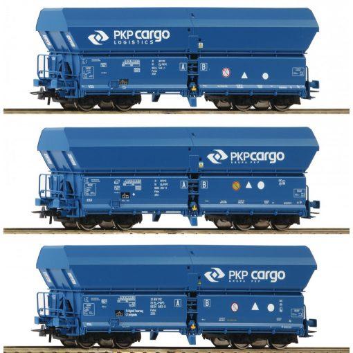 Roco 76133 Önürítős négytengelyes teherkocsi készlet, 3-részes Falns, PKP Cargo (E6)