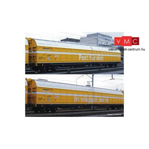 Roco 76153 Eltolható oldalfalú négytengelyes teherkocsi-pár, Post SBB (E6)