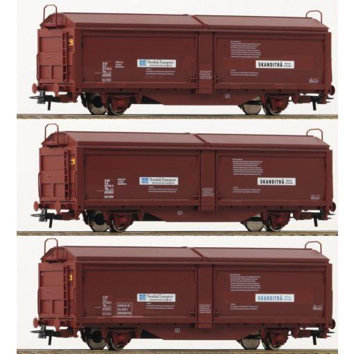 Roco 76169 Eltolható oldalfalú teherkocsi készlet, 3-részes Tbis, SJ (E4-5)