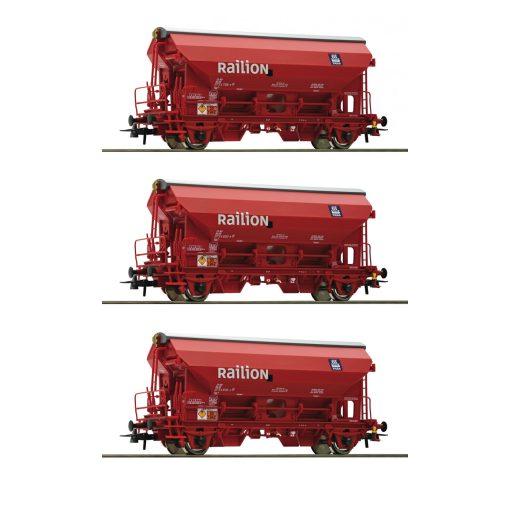 Roco 76175 Önürítős billenőtetős teherkocsi-készlet, 3-részes Tds, Railion (E5)