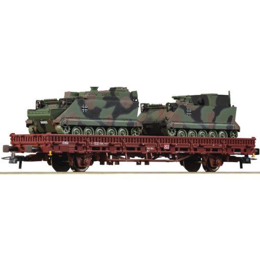 Roco 76390 Rakoncás teherkocsi, Rlmmps 651, 2 db M113 A1 katonai járművel, DB-AG (E5-6)