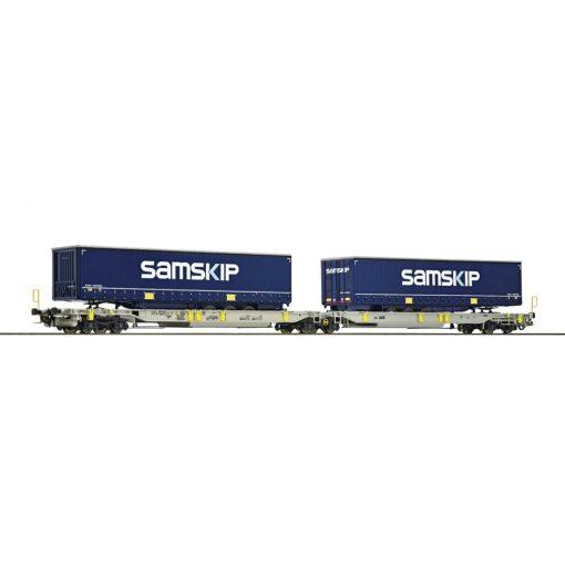Roco 76415 Konténerszállító iker-teherkocsi, Sdggmrs25 - T2000, Samskip VanDieren, AAE (E6)
