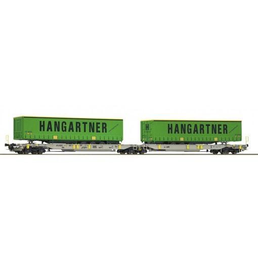 Roco 76419 Konténerszállító iker-teherkocsi, Sdggmrs25 - T2000, AAE (E6), Hangartner félpótkocsikkal