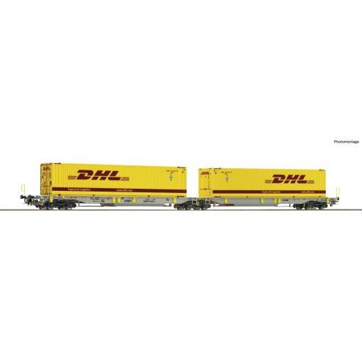 Roco 76421 Konténerszállító iker-zsebeskocsi, Sdggmrs25 - T2000, DHL / AAE (E6)