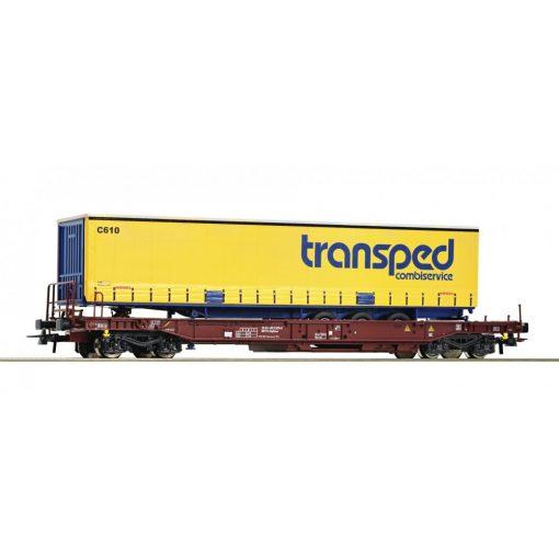 Roco 76749 Konténerszállító négytengelyes teherkocsi, ponyvás kamionfélpótkocsival - Tr