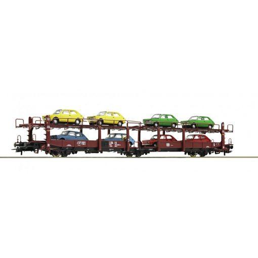 Roco 76834 Autószállító 3-tengelyes teherkocsi, 10 db Fiat 127 szemályautóval, Laes 543,