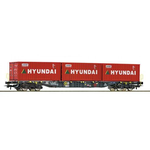 Roco 76932 Konténerszállító négytengelyes teherkocsi, Ermewa, 3 db 20 lábas Hyundai konténerekkel (E6)