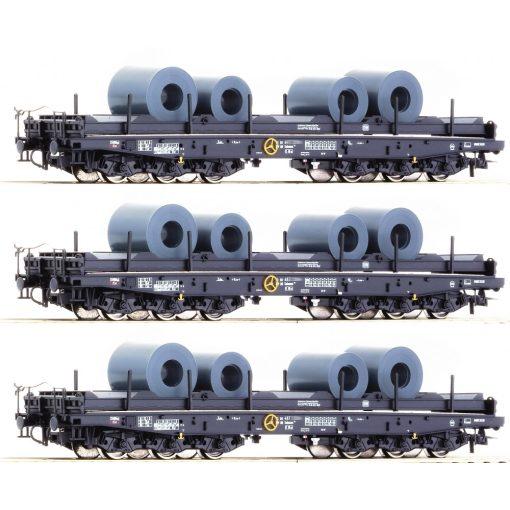 Roco 76957 Rakoncás hattengelyes nehézteherszállító teherkocsi-készlet, 3-részes Samms,