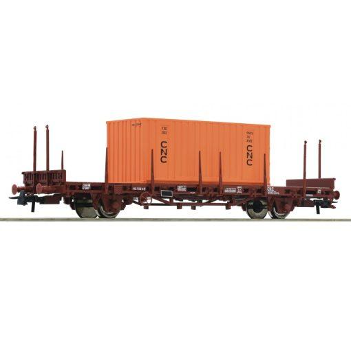 Roco 76986 Konténerszállító teherkocsi, 20 lábas CNC konténerrel, SNCF (E4) (H0)